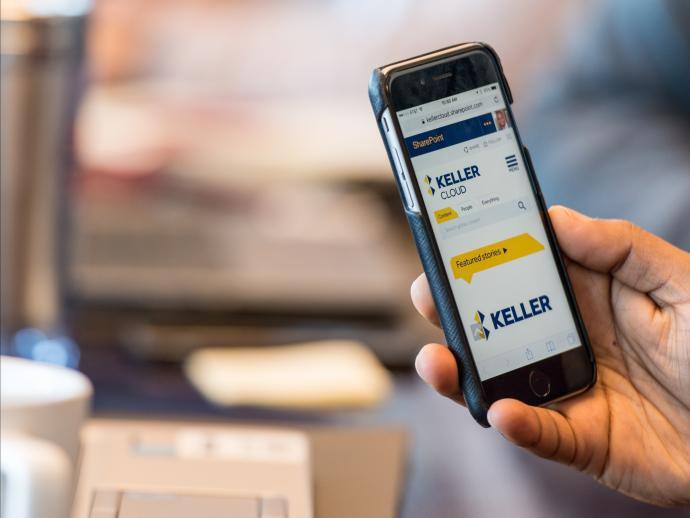 Keller's intranet on a mobile phone
