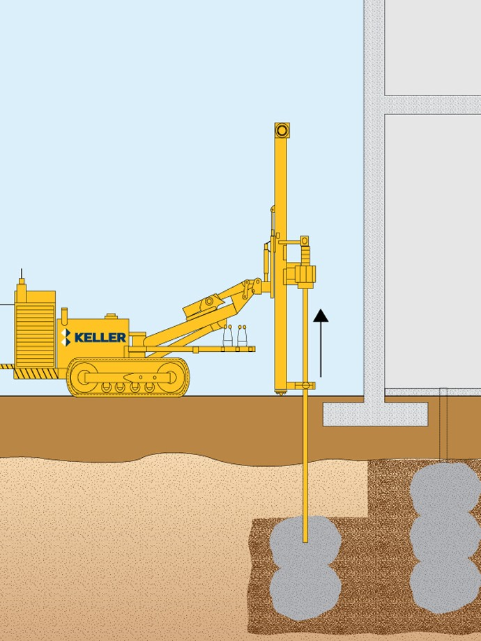 Keller rig performing compaction grouting